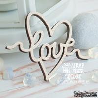 Деревянные фишки ScrapBox - Надпись Love в сердечке Wfi-003