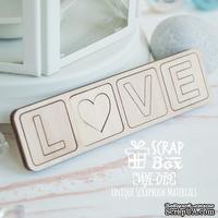 Деревянные фишки ScrapBox - Надпись Love в квадратиках Wfi-019