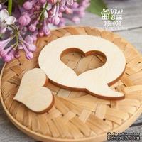 Деревянный декор ScrapBox - Бабл с сердечком Wfo-005