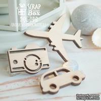 Деревянные фишки ScrapBox - Набор дорожный с самолетом (3шт) Wfo-046