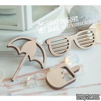 Деревянные фишки ScrapBox - Набор пляжный с очками (3шт) Wfo-047