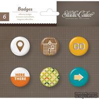 Самоклеющиеся украшения-фишки Studio Calico - Here And There Self-Adhesive Badges