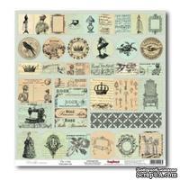 Лист бумаги для скрапбукинга  от ScrapBerry's - Версаль - Карточки Монетный двой