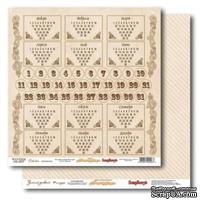 Лист бумаги для скрапбукинга  от ScrapBerry's - Зимний дневник - Календарь