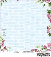 Лист бумаги для скрапбукинга от ScrapBerry's - Цветочная вышивка - Канва, 30,5 х 30,5 см