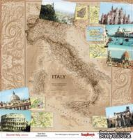 Лист бумаги для скрапбукинга от ScrapBerry's - Итальянские каникулы - Путеводитель, 30,5 х 30,5 см