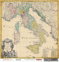 Лист бумаги для скрапбукинга от ScrapBerry's - Итальянские каникулы - Италия, 30,5 х 30,5 см
