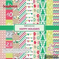 Набор бумаги от Scrapberry's - Зимние каникулы, 15х15 см, 170 гр/м., 24 листа