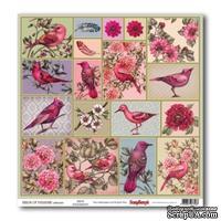 Бумага для скрапбукинга 30,5х30,5 см 180 гр/м односторон Райские птицы  - Райские птицы