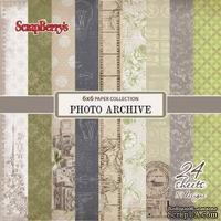 Набор бумаги для скрапбукинга от ScrapBerry's - Фотоархив, 15х15 см, 170 гр / м, 24 шт