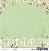 Бумага для скрапбукинга от ScrapBerry's - Цветущий Сад - Розовый вьюнок , 1 лист, 30,5х30,5 см 190 гр/м, односторонняя
