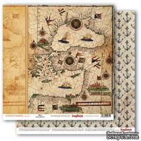 Бумага для скрапбукинга от ScrapBerry's - Сокровища пиратов - Старинная карта, 30,5х30,5 см 190 гр / м, двусторонняя