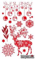 Набор натирок 12*20см Новогодние рисунки красные от ScrapBerry's