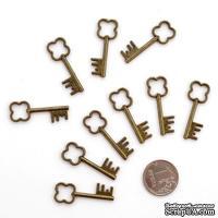 Набор металлических подвесок от ScrapBerry's - Ключик зубчатый, 33x13мм, 10 шт