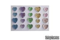 Клеевые сердечки от ScrapBerry's, 20 шт., 8 и 10 мм., пастельные