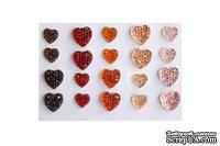 Клеевые сердечки от ScrapBerry's, 20 шт., 8 и 10 мм, яркие