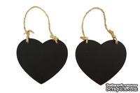 Набор сердечек с поверхностью меловой доски 8,5х7см, 2шт