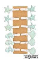 Декоративные мини-прищепки от Scrapberry's - Морские ракушки, 12 шт, длина 30 мм