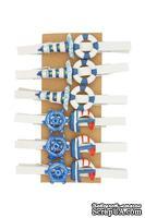 Декоративные прищепки от Scrapberry's -Море, 12 шт, длина 4,5 см