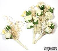 Декоративный букетик с розами, цвет белый, 4 см, 6 шт.