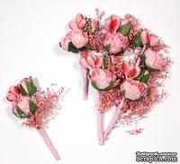 Декоративный букетик с розами, цвет розовый, 4 см, 6 шт.