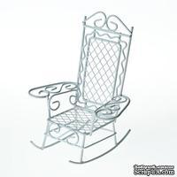 Металллическое мини кресло-качалка, белое, 8.5х7.5х10см