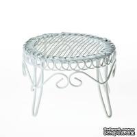 Металлический мини столик, белый, 6.5х4см