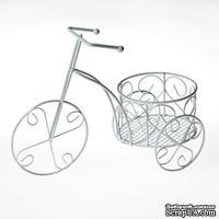 Металлический велосипед, белый, 8х5х14см - ScrapUA.com