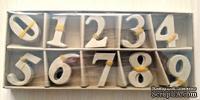 Цифры от ScrapBerry's из папье-маше в коробке (кор. 9x22см; цифры - 4 см), 10 цифр по 10шт