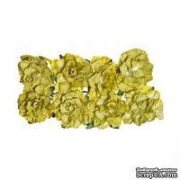 Розочки кудрявые, бумажные, зеленые, 25мм, 8 шт.