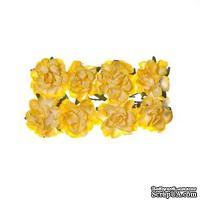 Розочки кудрявые, бумажные, нежно-желтые, 25мм, 8 шт.
