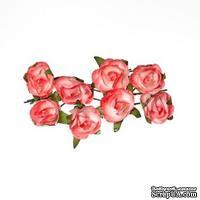 Розочки из бумаги, розовые, 20мм, 8 шт.