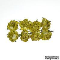 Розочки кудрявые, из бумаги, зеленые, 30 мм, 8 шт.
