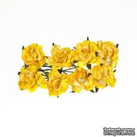 Розочки кудрявые, из бумаги, нежно-желтые, 30 мм, 8 шт.