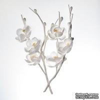 Цветы вишни на веточке, тканевые, белые, 2 шт.