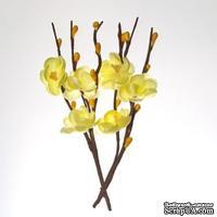 Цветы вишни на веточке, тканевые, нежно-желтые, 2 шт.