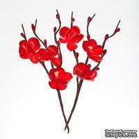Цветы вишни на веточке, тканевые, красные, 2 шт.