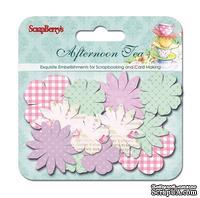 Набор принтованных бумажных цветочков от Scrapberry's - Полуденный чай, 24 шт