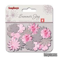 Набор принтованных бумажных цветочков от Scrapberry's - Летняя радость - Пионы, 24 шт
