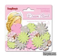Набор принтованных бумажных цветочков от Scrapberry's - Волшебная страна - Розовые цветы, 24 шт