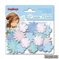 Набор принтованных бумажных цветочков от Scrapberry's - Волшебная страна - Голубые цветы, 24 шт
