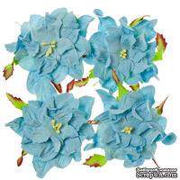 Гардении, набор 4шт., диаметр 7см, нежно-голубые