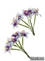 Набор лилий на стебле от ScrapBerry's, цвет фиолетовый с белым, 10  шт.