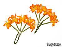 Набор лилий на стебле от ScrapBerry's, цвет желто-оранжевый, 10  шт.
