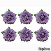 Цветы чайной розы, диаметр -18 мм, 6 шт., фиолетовые