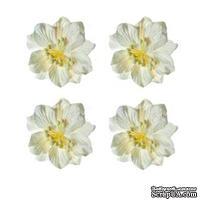 Гардении белые, набор цветов из шелковичной бумаги 4 шт., диаметр 5см
