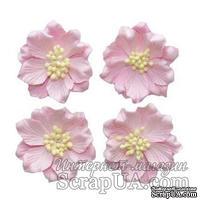 Гардении нежно-розовые, Набор цветов из шелковичной бумаги 4 шт., диаметр 5см