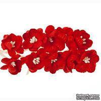 Цветы вишни из шелковичной бумаги, набор 10 шт., цвет красный