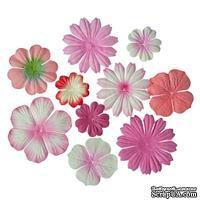 Набор цветочков из шелковичной бумаги 10 шт., оттенки розового