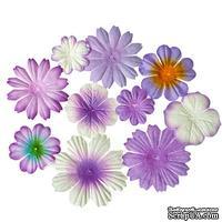 Набор цветочков из шелковичной бумаги 10 шт., цвет сиреневый
